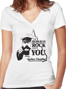 bombay rock  Women's Fitted V-Neck T-Shirt