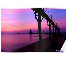 Purple sky lighthouse Poster