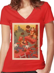 Mario And DK Women's Fitted V-Neck T-Shirt