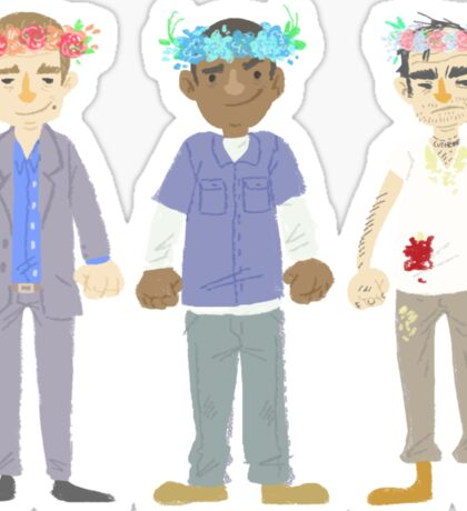 poorly matched friends (flowercrown version) Sticker