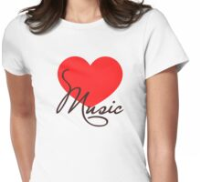 MUSIC HEART, Love Music, Classic, Dance, Electro, House, Techno, Hiphop Womens Fitted T-Shirt