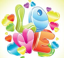 Bright 3d love word and glossy hearts by Elmiko