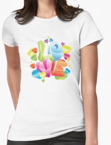 Bright 3d love word and glossy hearts T-Shirt