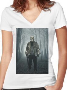 Jason  From Friday the 13th Cosplay Women's Fitted V-Neck T-Shirt
