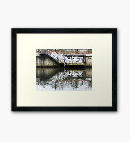 Manchester Canal Reflection Street Art Graffiti  Framed Print