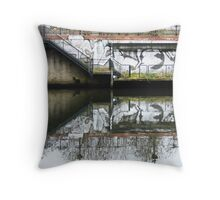 Manchester Canal Reflection Street Art Graffiti  Throw Pillow