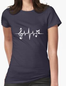 Music Pulse, Notes, Clef, Frequency, Wave, Sound, Dance Womens Fitted T-Shirt