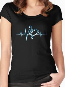 MUSIC HEART PULSE, Love, Music, Bass Clef, Treble Clef, Classic, Dance, Electro Women's Fitted Scoop T-Shirt