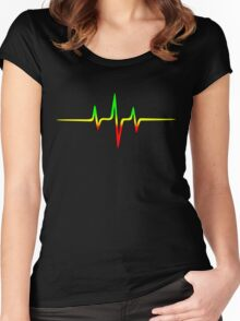 Music Pulse, Reggae, Sound Wave, Rastafari, Jah, Jamaica, Rasta Women's Fitted Scoop T-Shirt
