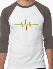 Music Pulse, Reggae, Sound Wave, Rastafari, Jah, Jamaica, Rasta Men's Baseball ¾ T-Shirt