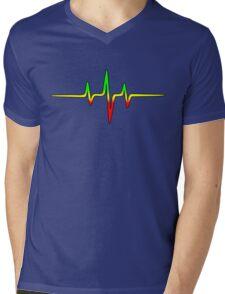 Music Pulse, Reggae, Sound Wave, Rastafari, Jah, Jamaica, Rasta Mens V-Neck T-Shirt