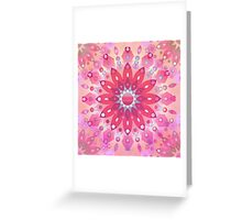 Tropical Pink Floral Mandala Greeting Card