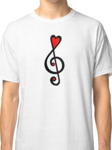 MUSIC CLEF HEART, Love, Music, Treble Clef, Classic Classic T-Shirt