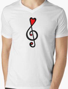 MUSIC CLEF HEART, Love, Music, Treble Clef, Classic Mens V-Neck T-Shirt