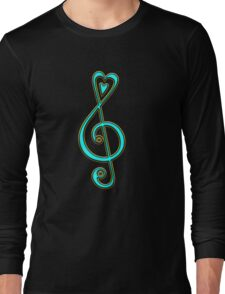 MUSIC CLEF HEART, Love, Note, Music, Treble Clef, Classic Long Sleeve T-Shirt
