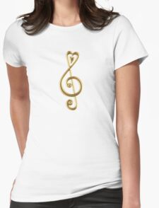 MUSIC CLEF HEART, Love, Note, Music, Treble Clef, Classic Womens Fitted T-Shirt