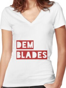 Dem Blades Women's Fitted V-Neck T-Shirt