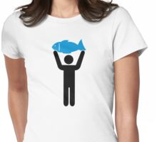Angler blue fish Womens Fitted T-Shirt