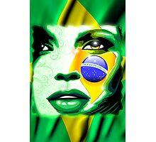Brazil Flag Girl Portrait Photographic Print