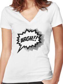 COMIC ARGH! Speech Bubble, Comic Book Explosion, Cartoon Women's Fitted V-Neck T-Shirt