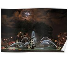Full Moon at the J C Nichols Fountain Poster