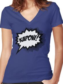 COMIC POW! Speech Bubble, Comic Book Explosion, Cartoon Women's Fitted V-Neck T-Shirt