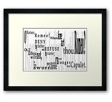 Shakespeare Romeo & Juliet Balcony Quote Framed Print