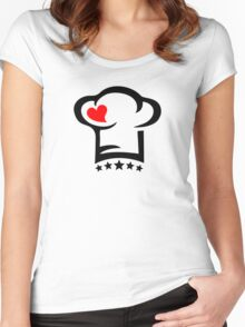 Chef Cook Hat, Cooking, Kitchen, Hotel, Restaurant Women's Fitted Scoop T-Shirt