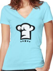 Chef Cook Hat, Cooking, Kitchen, Hotel, Restaurant Women's Fitted V-Neck T-Shirt