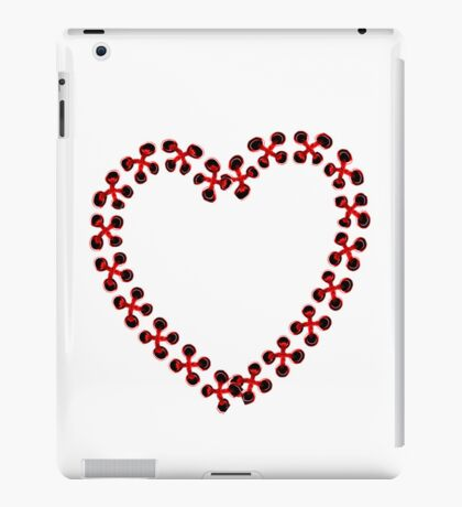 Red Heart embroidered iPad Case/Skin