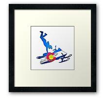 Neon Colorado flag snowmobiler trickster Framed Print