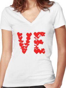LOVE Couple, Heart, I Love You, Pair, Valentine` Day Women's Fitted V-Neck T-Shirt