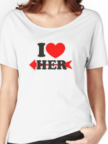 LOVE HER, Couple, Heart, I Love You, Pair, Valentine` Day Women's Relaxed Fit T-Shirt
