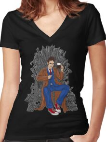 Throne of Time Women's Fitted V-Neck T-Shirt