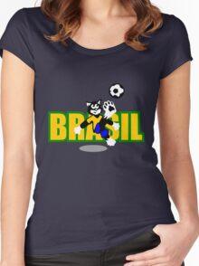 Brasil Football Cat Women's Fitted Scoop T-Shirt