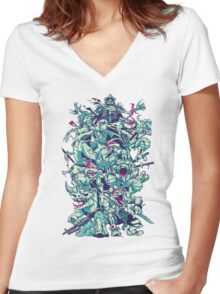 Nuclear Zombie Ninja Turtles Women's Fitted V-Neck T-Shirt
