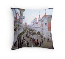 """Coney Island, New York. """"Luna Park Promenade"""", ca. 1905 Throw Pillow"""