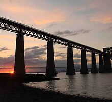 Sunset at Forth Rail Bridge by Pat Millar