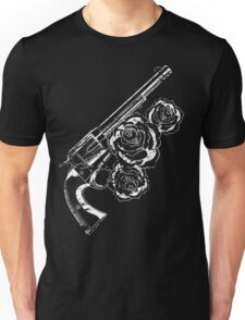 Distressed Western Pistol with Roses White Unisex T-Shirt