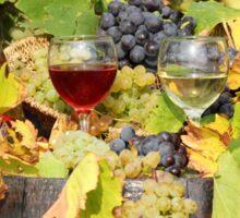 red and white wine autumn scene Sticker
