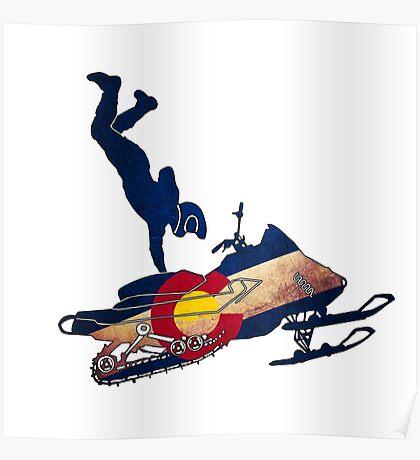 Colorado flag vintage snowmobiler trickster Poster
