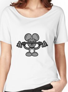 mouse sport weight lifting Women's Relaxed Fit T-Shirt