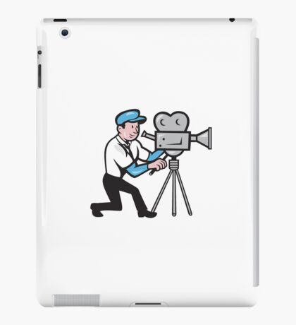 Cameraman Vintage Film Movie Camera Side Cartoon iPad Case/Skin