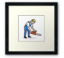 Lumberjack Arborist Operating Chainsaw Cartoon Framed Print