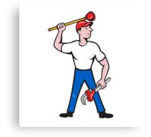Plumber Wield Wrench Plunger Isolated Cartoon Canvas Print