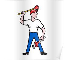 Plumber Wield Wrench Plunger Isolated Cartoon Poster