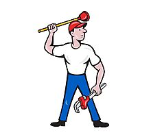 Plumber Wield Wrench Plunger Isolated Cartoon Photographic Print