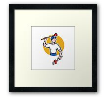 Plumber Wielding Wrench Plunger Cartoon Framed Print
