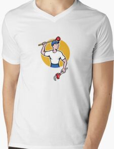 Plumber Wielding Wrench Plunger Cartoon Mens V-Neck T-Shirt