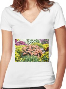 autumn colorful flower Women's Fitted V-Neck T-Shirt